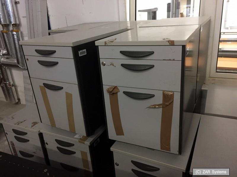 schreibtisch container b ro rollcontainer 60x60x45cm grau 3x f cher rollen ebay. Black Bedroom Furniture Sets. Home Design Ideas