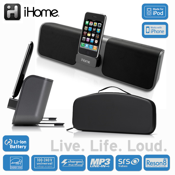 ihome ip56 portable lautsprecher dock mit apple cradle f r ipad iphone ipod ebay. Black Bedroom Furniture Sets. Home Design Ideas